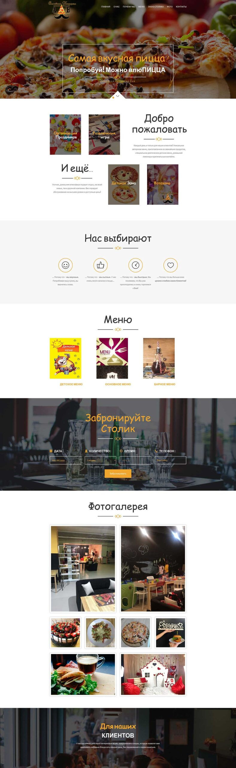 Розробка сайту для піцерії